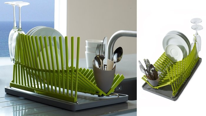 foldable dish rack. and its green! love it!Dry Racks, Dish Racks, App, Clever Folding, Dishes Dry, Folding Dishes, Dishes Racks, Foldable Dishes, Drying Racks