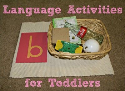 Letter and sounds: Offer a basket full of items that begin with the corresponding letter. I would only offer one letter at a time to start off but fill several baskets with items that all begin with the same letter. Focus: Letter and sound recognition.