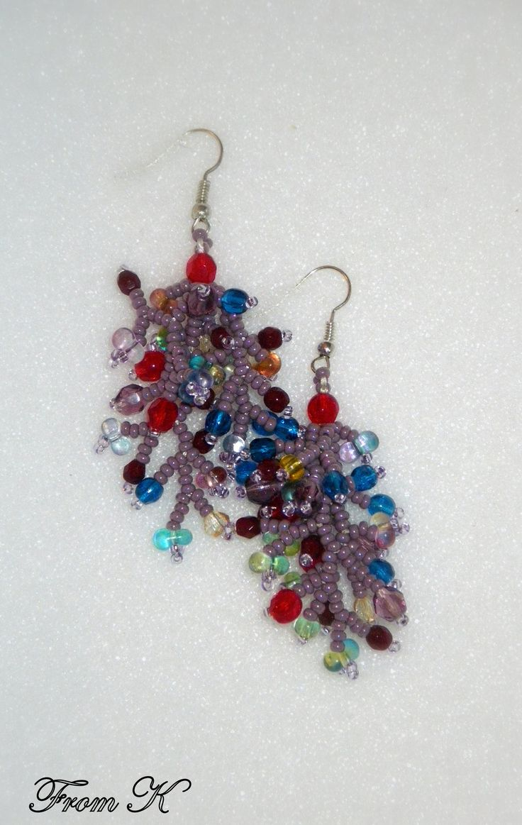 """Beaded """"#coral-reef"""" #earrings. (fireworks, party, or however else you want to describe them.) These multi-color, 3-D earrings will bring a bit of fun to your jewelry collection. Czech seed beads and crystals are used. Around 4 cm long, 4,5 cm with ear wire. EGO98 15.00 RON For more photos, prices and other info, please visit my facebook page https://www.facebook.com/246629745363331/photos"""