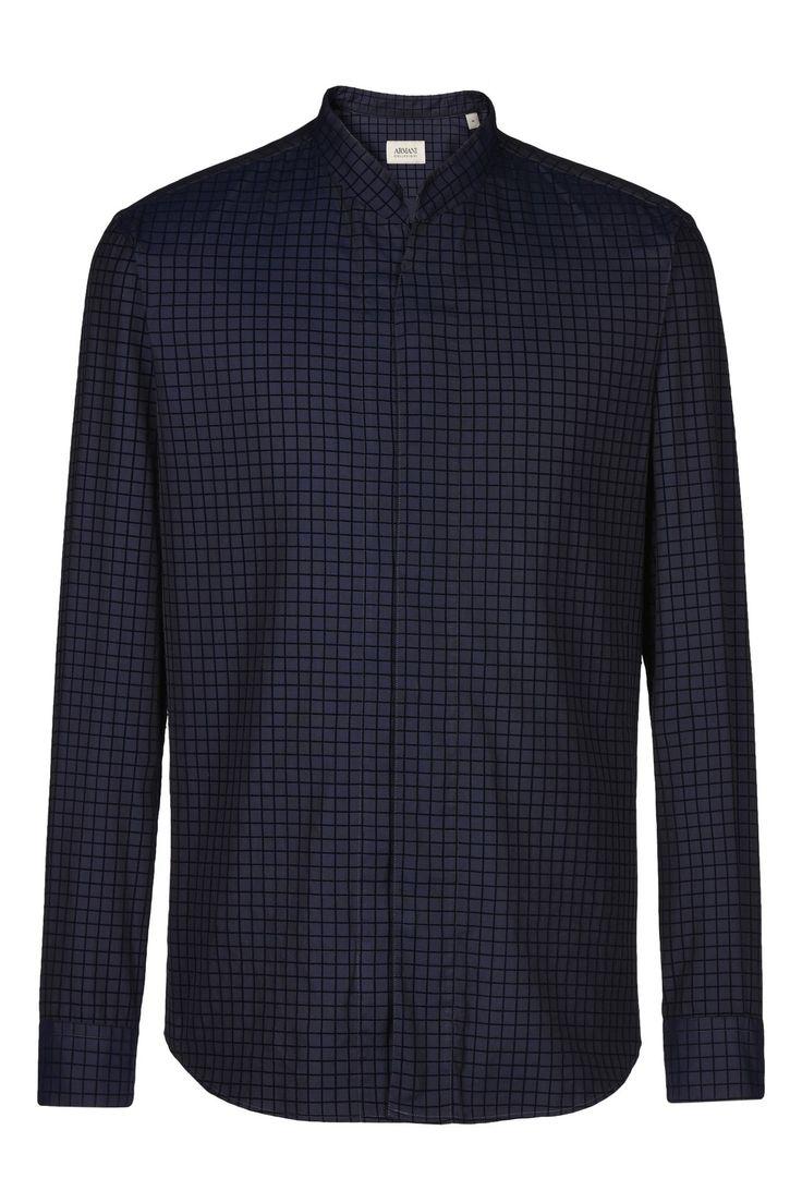 РУБАШКА С V-ОБРАЗНЫМ ВЫРЕЗОМ И ВОРОТНИКОМ-СТОЙКОЙ: Рубашки с длинными рукавами Для Мужчин by Armani - 0