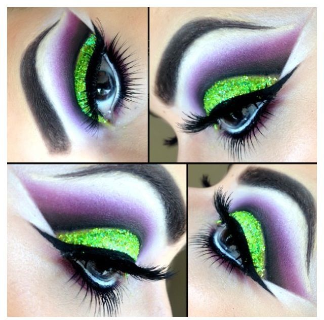 Green and purple cut crease dramatic eye make-up | This has a Beetlejuice vibe, don't you think?