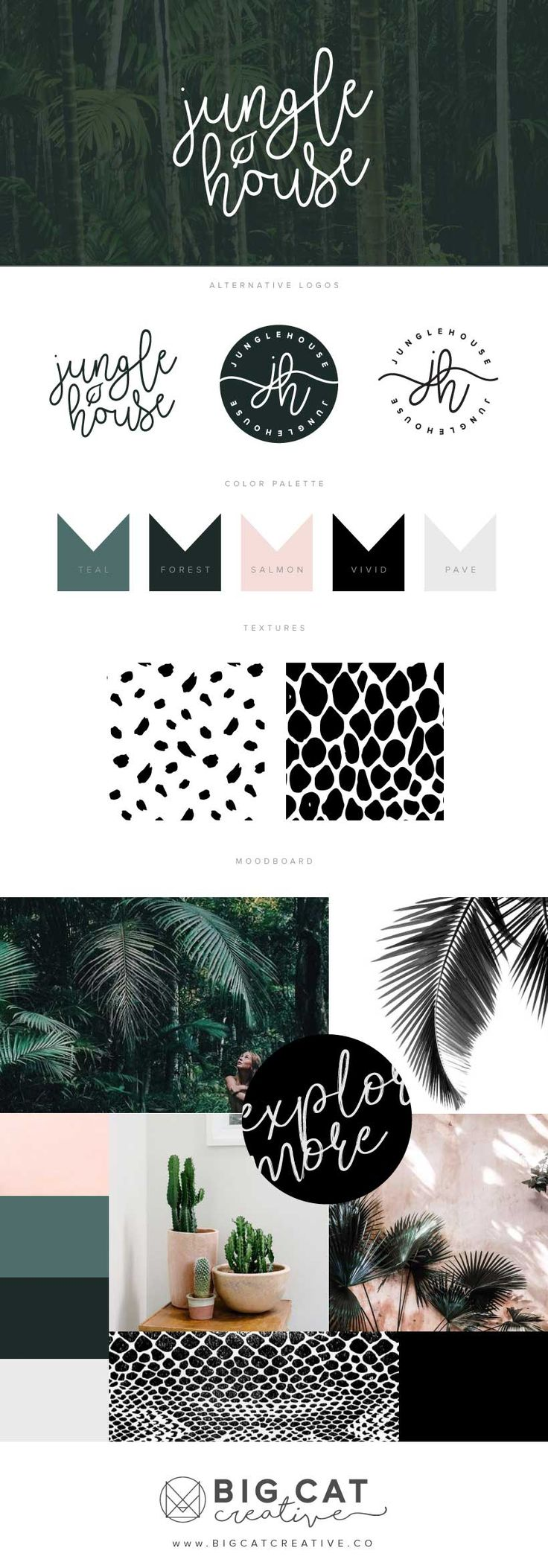 Jungle House Branding Style Board by Big Cat Creative | Get your own at www.bigcatcreative.co