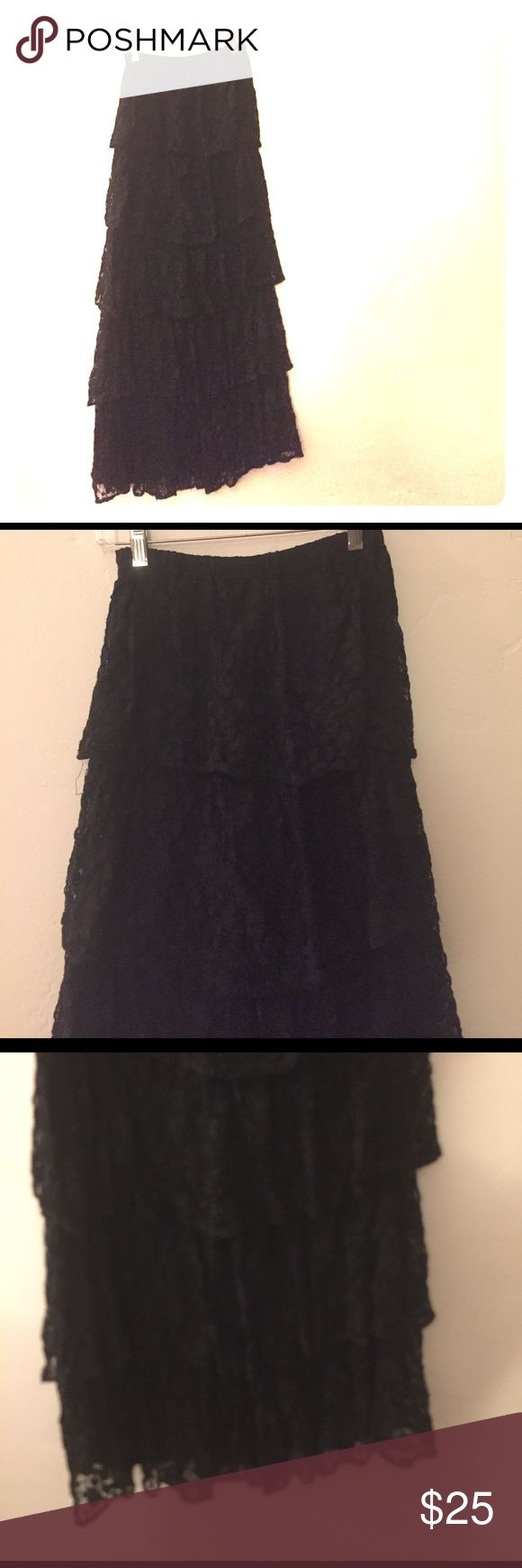 Lace maxi skirt Black lace skirt. 5 tiers of lace. Has lining. Super cute. Condition good. Urban Outfitters Skirts Maxi