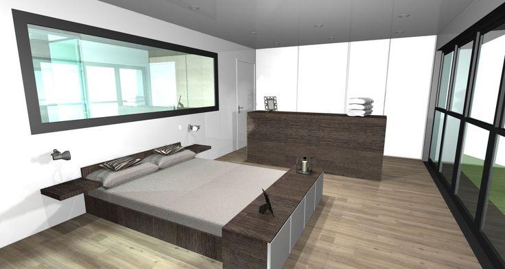Rénovation d'une grange - Suite parentale - Aménagement intérieur - Conception 3D signée Optiréno