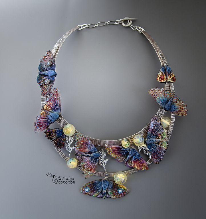 """Купить Колье """"Крылья мечты"""" - разноцветный, мотыльки, колье, серебро, стекло, lampwork, украшение на шею"""