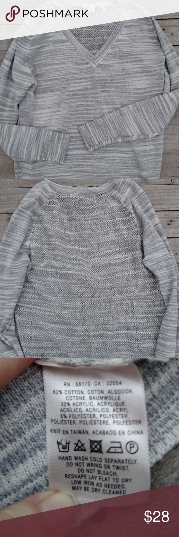 "V neck sweater by Moth from Anthropologie Semi-sheer v-neck sweater by Moth from Anthropologie.  Sweater is size medium in like-new EUC.  Sweater is made of cotton, acrylic, and polyester blend and measures 20"" across the chest, 23"" from shoulder to hem Anthropologie Sweaters V-Necks"
