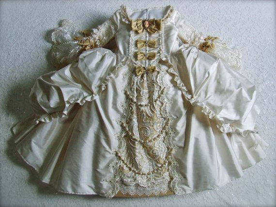 Marie Antoinette Silk / Bridal Lace / Swarovski Pearl/Crystal Embellished Girl's Costume / Historic 18th c. Gown
