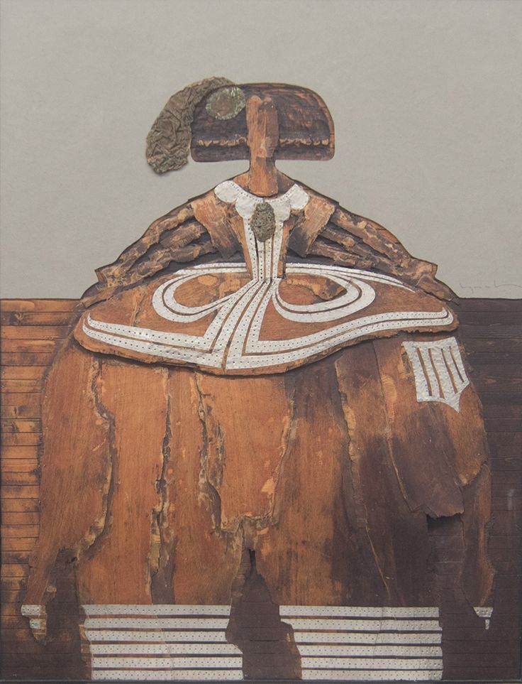 """Picture: """"Menina wood 2"""". Dimensions: 154 cm (H) x 120 cm (W) x 5 cm (D). Mixed technique: wood and tin foil."""