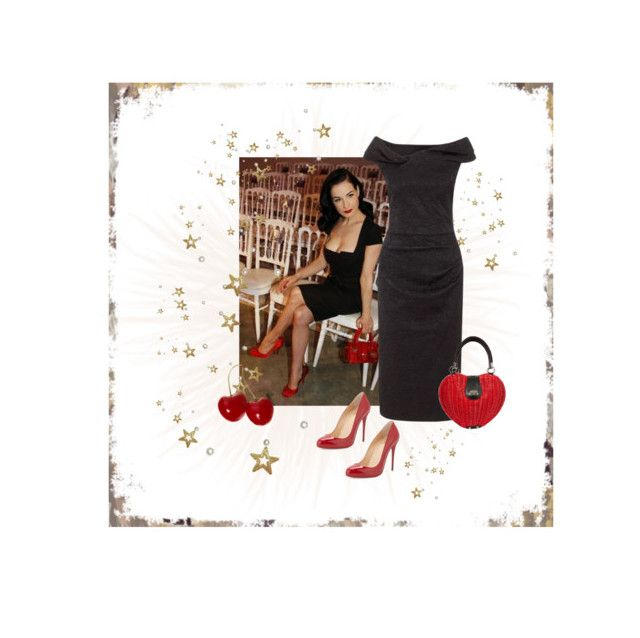 """Voodoo Vixen dress and bag - Dita Von Teese style💋"" by christina-63 on Polyvore featuring Christian Louboutin"