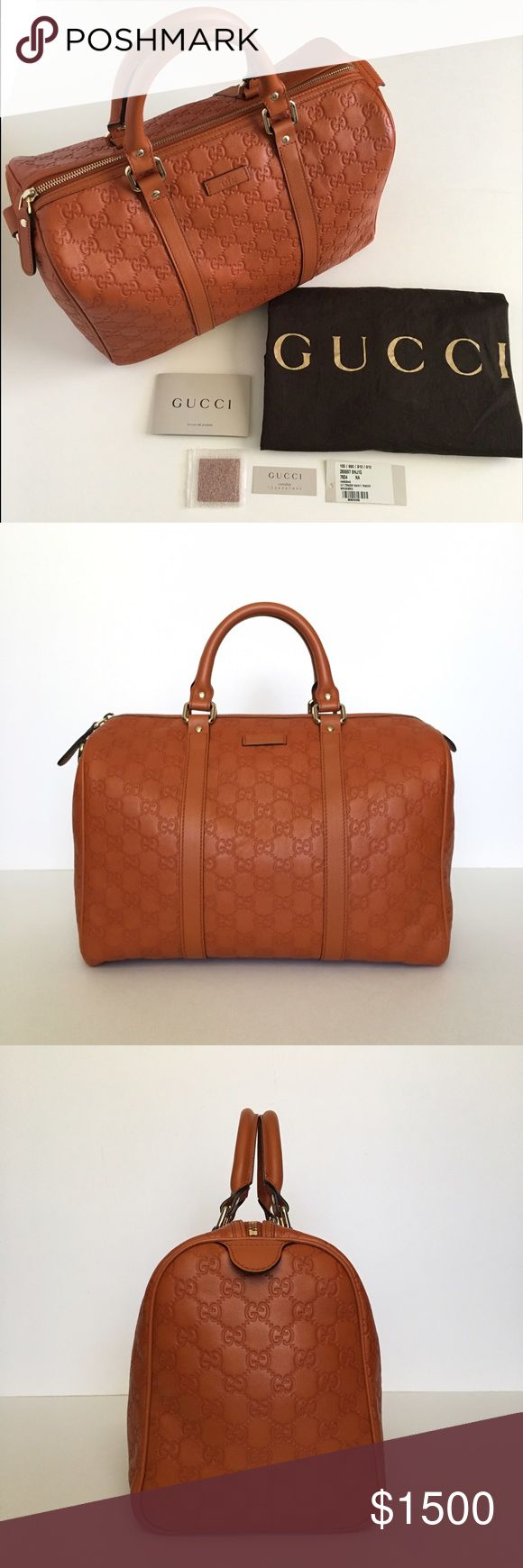Gucci Guccissima Leather Boston Medium Handbag *EXCELLENT CONDITION, good as new. No signs of wear or tear. Gucci GG Guccissima Leather Boston Medium Handbag.  Color: Brick Orange Size:   Accepting reasonable offers. Will sell for less on ♏️erc. Gucci Bags