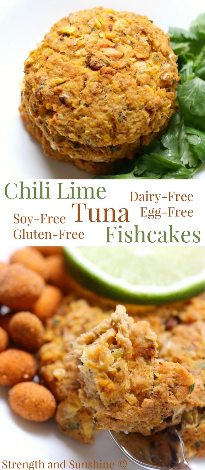 Chili Lime Tuna Fishcakes (Gluten-Free) | Strength and Sunshine @RebeccaGF666 Elevated fishcakes with a zesty twist! Chili Lime Tuna Fishcakes that are gluten-free, egg-free, dairy-free, & soy-free, without the oil and baked in the oven. With a secret nutty ingredient for a super flavor-packed & healthy recipe your family will love for dinner or lunch! #fishcakes #tuna #fish #glutenfree #eggfree #dairyfree