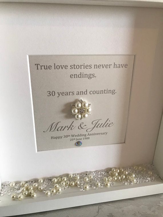 Personalised Pearl Anniversary Frame Golden Anniversary Gift Etsy Golden Anniversary Gifts Pearl Anniversary Anniversary Frame