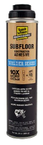 •Yields 10X more than traditional cartridge adhesives • Installs faster •Use with a gun foam applicator for precise control •Cures quickly •Provides dense, super-strong bond, won't produce squeeze out •Use on wood-to-wood assemblies, glued floor systems, plywood, OSB, and dimensional and treated lumber •Helps prevent floor squeaks  •Bridges minor gaps on irregular surfaces •Bonds to wet and frozen lumber  •Helps prevent nail pops •No odor Low VOC