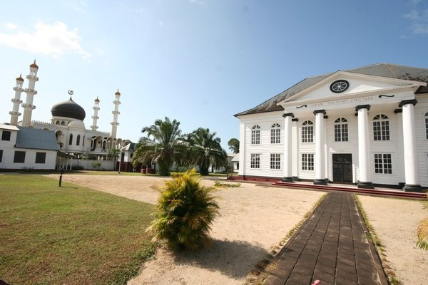 A synagogue and a mosque peacefully side by side in Paramaribo, Suriname.