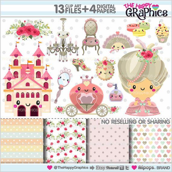 Marie Antoinette Clipart, Princess Clipart, COMMERCIAL USE, Kawaii Clipart, Marie Antoinette Graphics, Planner Accessories, Princess Party