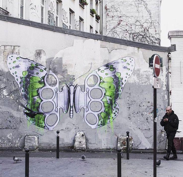 Parigi, Francia: nuovo pezzo realizzato dallo street artist francese Ludo.: