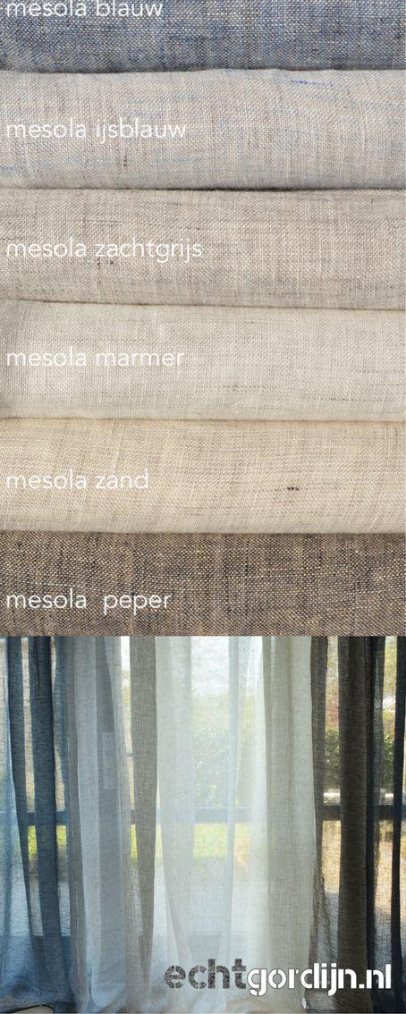 100% linnen gordijnen -inbetween- soepel, washed en een beetje melange. Wil je de stof zien vraag dan stalen aan. Of bekijk deze stof op de website.