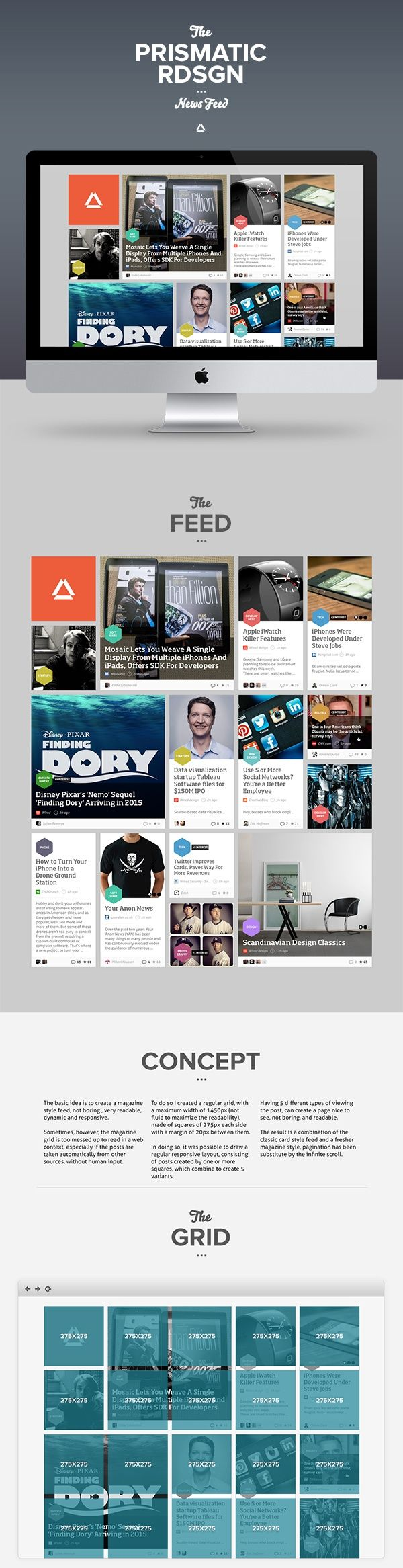 Prismatic NewsFeed Concept Redesign by Enzo Li Volti #interactive #website #webdesign #grid