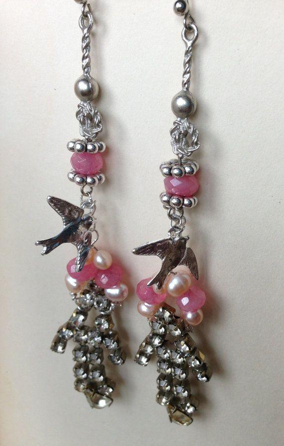 EARRINGS - Love BIRDS - Ruby Pearl Vintage Assemblage Handmade Romantic Pink…