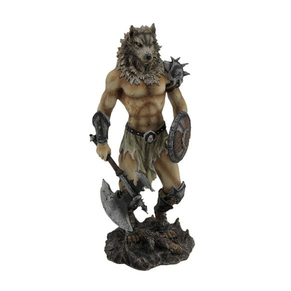 Amazing Viking Wolf Warrior With Battle Ax Statue - Multicolored