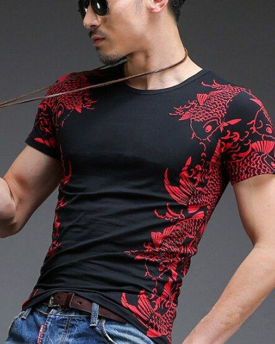 Chinese style carp tattoo t shirts for men plus size mens clothing xxxxl