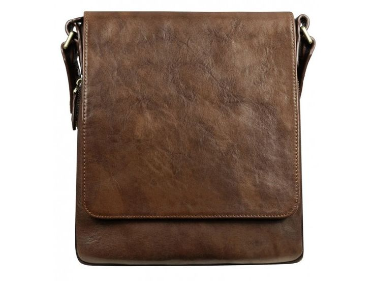 Dark Brown Leather Messenger Bag for Men and Women - Water For Elephants