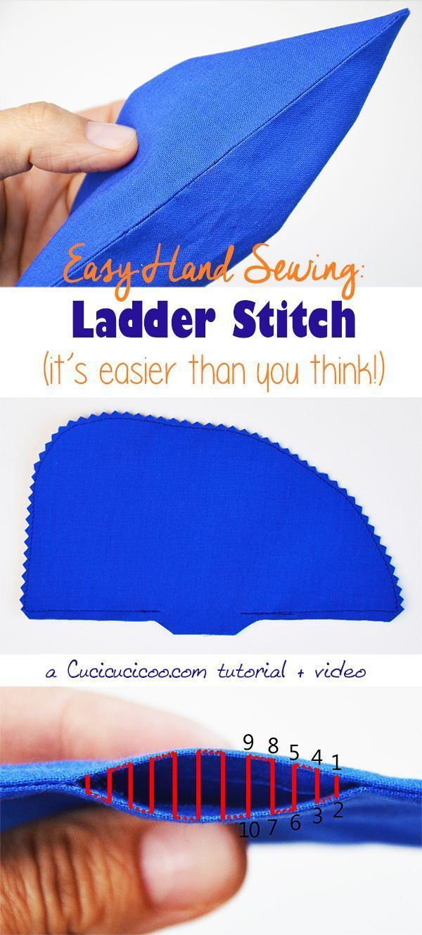 Hand sewing doesn't have to be hard! Learn how to ladder stitch (or invisible stitch), a technique essential to closing up openings easily without any visible threads! Photo + video tutorial! #handsewing #sewbyhand #easyhandcrafttricks