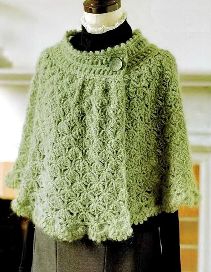 Crochet Chales: Cape Poncho - Mujeres ganchillo del Cabo párrafo el invierno