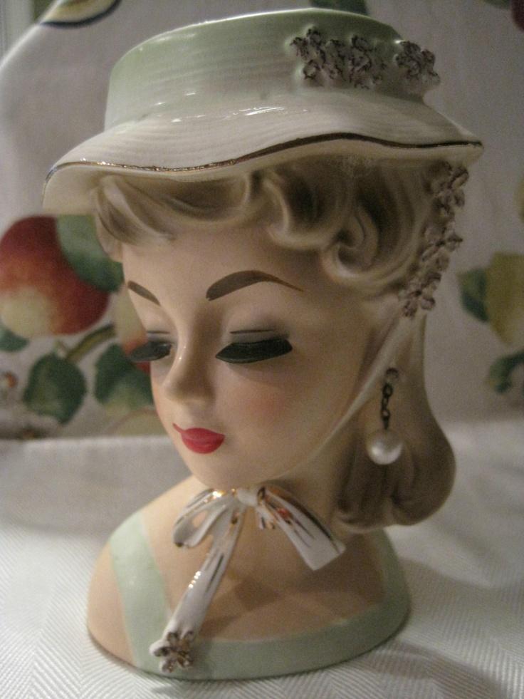 "HEY HEAD HUNTERS!!!!!!! Vintage Unmarked Lady Head Vase 6"" | eBay"