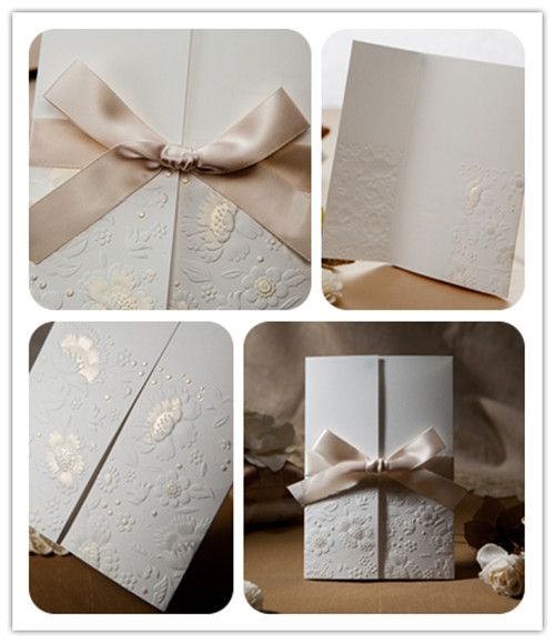 Ribbon wedding invitations. Hey look, my wedding invites that I actually used! Got them online. So inexpensive and gorgeous!! :-)