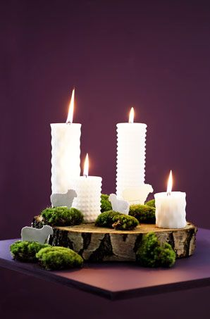 A very modern version of an Advent wreath. Especially like the different textures of the candles.