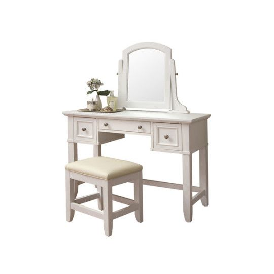 3-Piece Belfast Vanity Set - This lovely 3-Piece Belfast Vanity Set brings forth memories full of old school charm with just the right hint of Southern grace. Perched on a set of slightly flared legs, this white vanity table stands brightly in any room, evoking the warm Georgia sunlight. Store your makeup, jewelry, or any little piece that your heart desires in the 3 drawers and set out the optional mirror and bench to make a versatile addition to any room. - Found at myWebRoom.com
