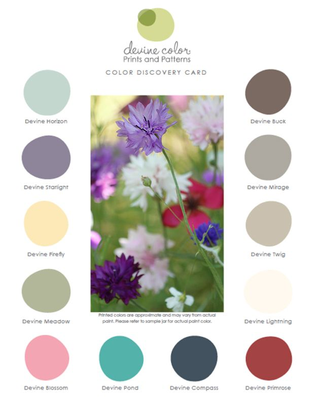 Field of Dreams Color Collection from Devine Color.  Pre-mixed #paint available exclusively at #Target.  #devineityourself #devinecolor #palette #spring
