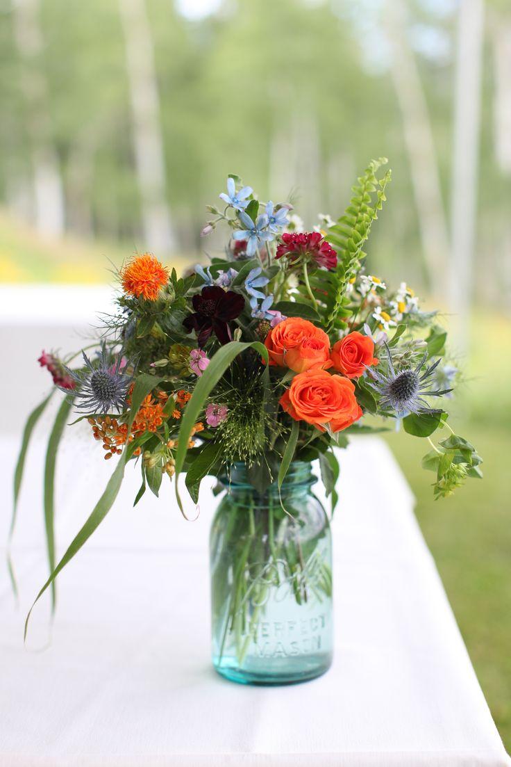 Wildflower Arrangement In Ball Jar By Mountain Flowers Of Aspen With Rosesu2026