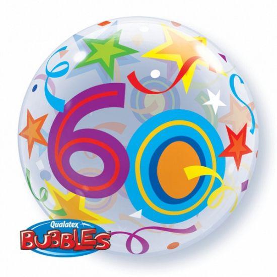 Folie ballon 60 jaar. Vrolijk gekleurde ronde stretch folie ballon van Qualatex Bubbles in 60 jaar uitvoering. Deze folie ballon wordt gevuld met helium geleverd en blijft ongeveer 4 weken goed! Grootte: ongeveer 56 cm.