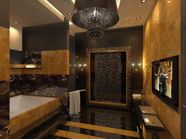 Pinterest black and gold in bathroom beautiful all for Deep purple bathroom ideas