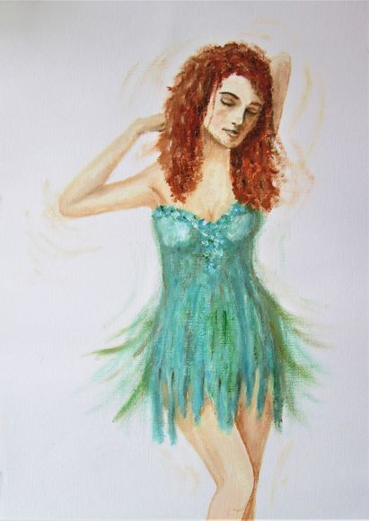 Dancer in turquoise dress, oil painting