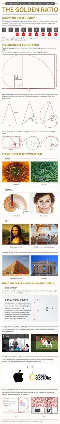 The golden ratio should not need any introduction to those who have studied math and design in school. Some designers apply these mathematical concepts to come up with more visually appealing works. This infographic from companyfolders.com covers a few golden ratio facts: