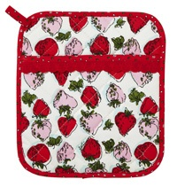 Horrockses Fashions Brigette pot mitt from Ovest.   The iconic British designs of Horrockses Fashions from the 40s and 50s have been adapted for this beautiful range of kitchen textiles. Brigette features a delightful array of delicious strawberries in shades of red and pink, lovingly recreated from an original Horrockses design.