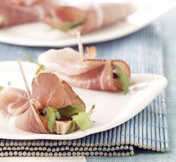 Hapje met ham, eendenlever, rucola en balsamicocrème