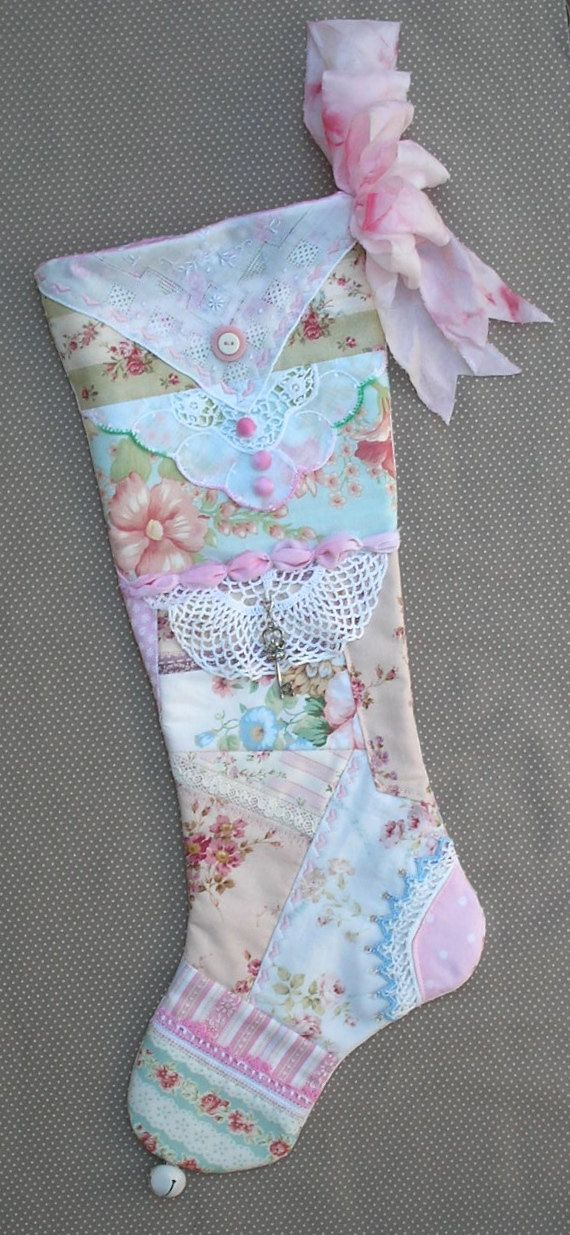 Pastel Christmas Stocking Shabby Chic Quilted by paintedquilts