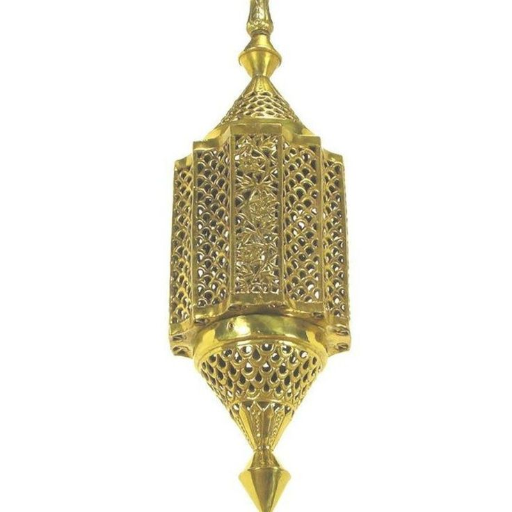 Moroccan Style Reticulated Brass Pendant Light