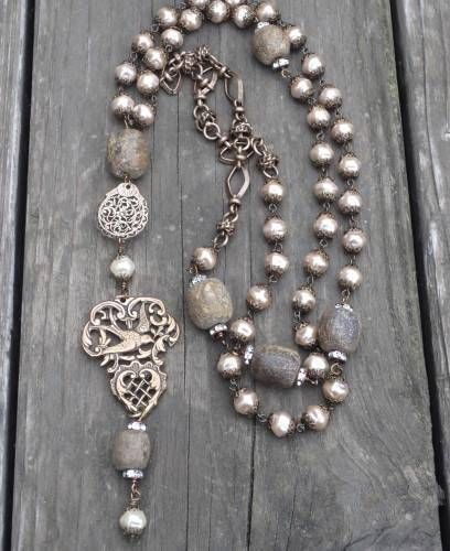 Boho Czech Glass Pearl & Fossil Bone Bead Filigree & Heart/Bird Charm Necklace in Jewelry & Watches, Handcrafted, Artisan Jewelry, Necklaces & Pendants   eBay