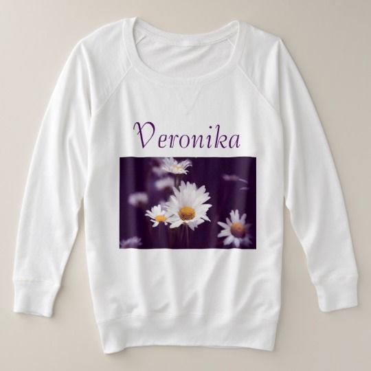 Camomile dreams plus size sweatshirt, customized, personalized, zazzle, photo, photography, artwork, buy, sale, gift ideas, camomile, flowers, divination, love, violet, purple, liliac, white, dreams, bright, colorful, glow, petals, dark, daisies #womenplussize