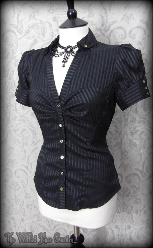 Elegant Gothic Black Satin Striped Puff Sleeve Top 10 Victorian Steampunk | THE WILTED ROSE GARDEN