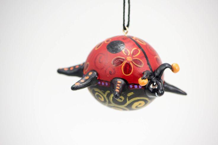 Ladybug Ornament, Gourd Art, Ladybug Decor, Floral Design, Lady Bug, Painted Gourd, Christmas Ornament, Holiday Gift