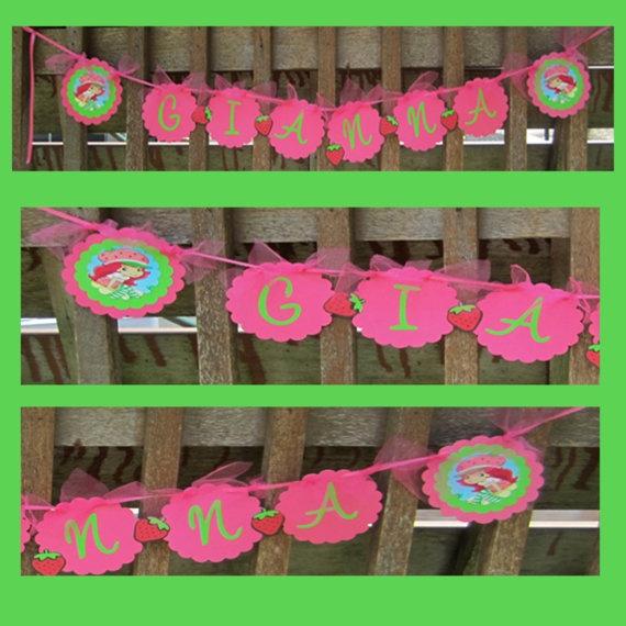 Cute Strawberry Shortcake Birthday Banner