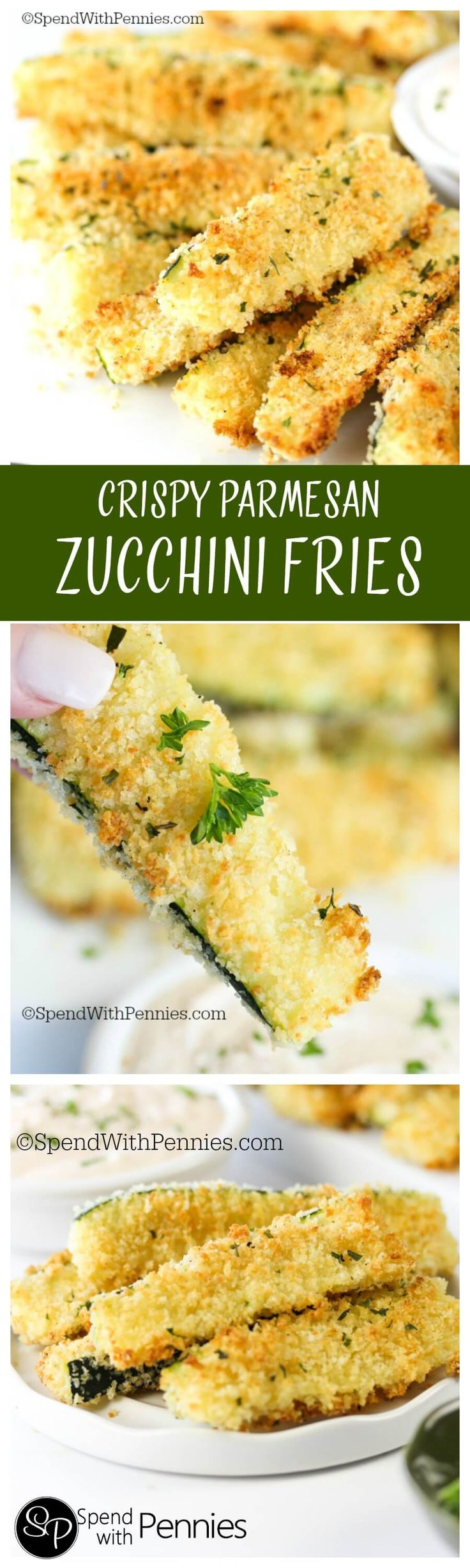 Crispy Parmesan Zucchini Fries! The perfect way to enjoy zucchini, these are quickly baked in the oven and come out crispy and delicious!