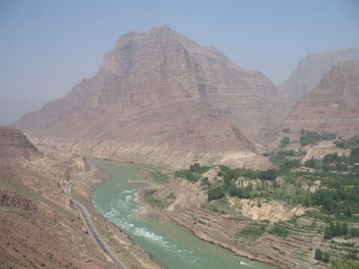 Jishi Gorge upstream from the landslide dam on the Yellow River, China.