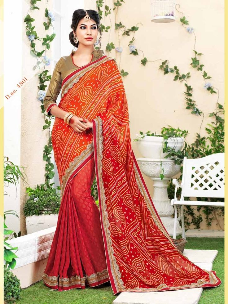 Shaded Red Bandhej Print Embroidered Bandhni Saree